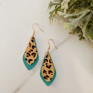 Turquoise leopard leather dangles